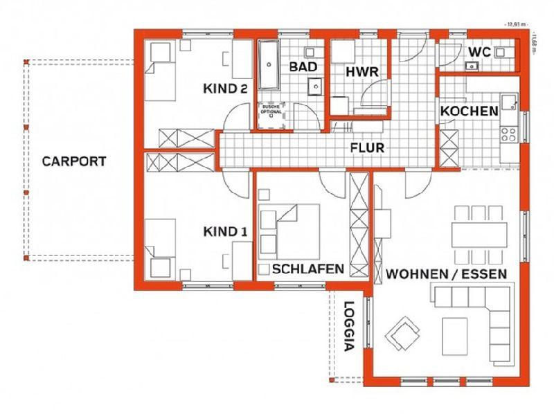 Model casa LIFE 110L Walmdach, Suprafata 108 mp, 3 camere, Proiect Haus xxl