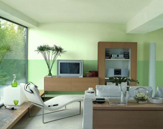 Doua nuante de verde mar in living Foto Copyright © Akzo Nobel
