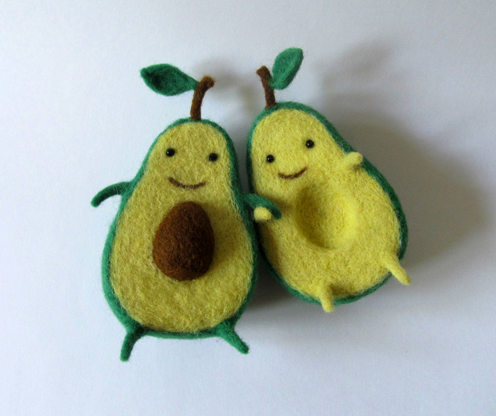 Avocado Love Wool Sculpture by Hanna Dovahan
