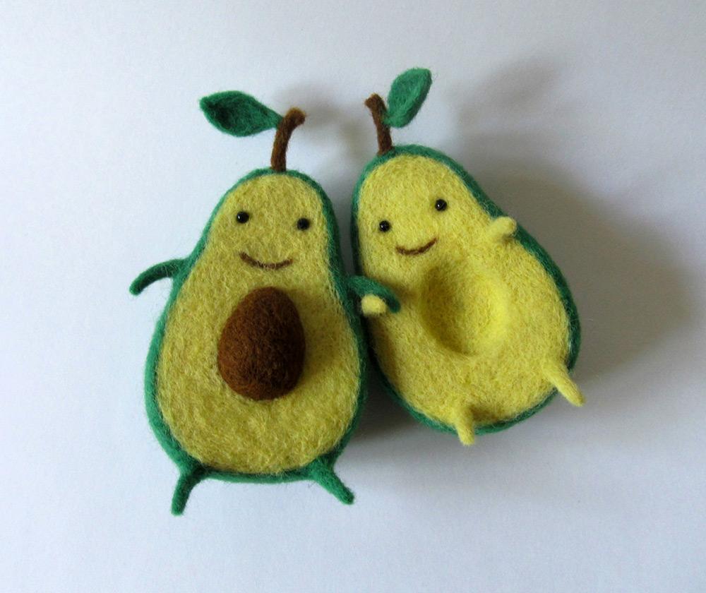Avocado Love Wool Sculpture by Hanna Dovahan