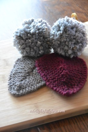 Knitted Leaf and Pom Poms