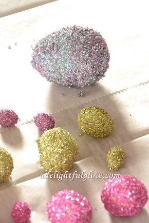 Glass Glittered Eggs