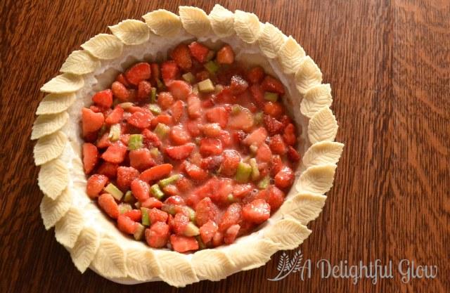 Strawberry Rhubarb Pie with Pie Crust Roses