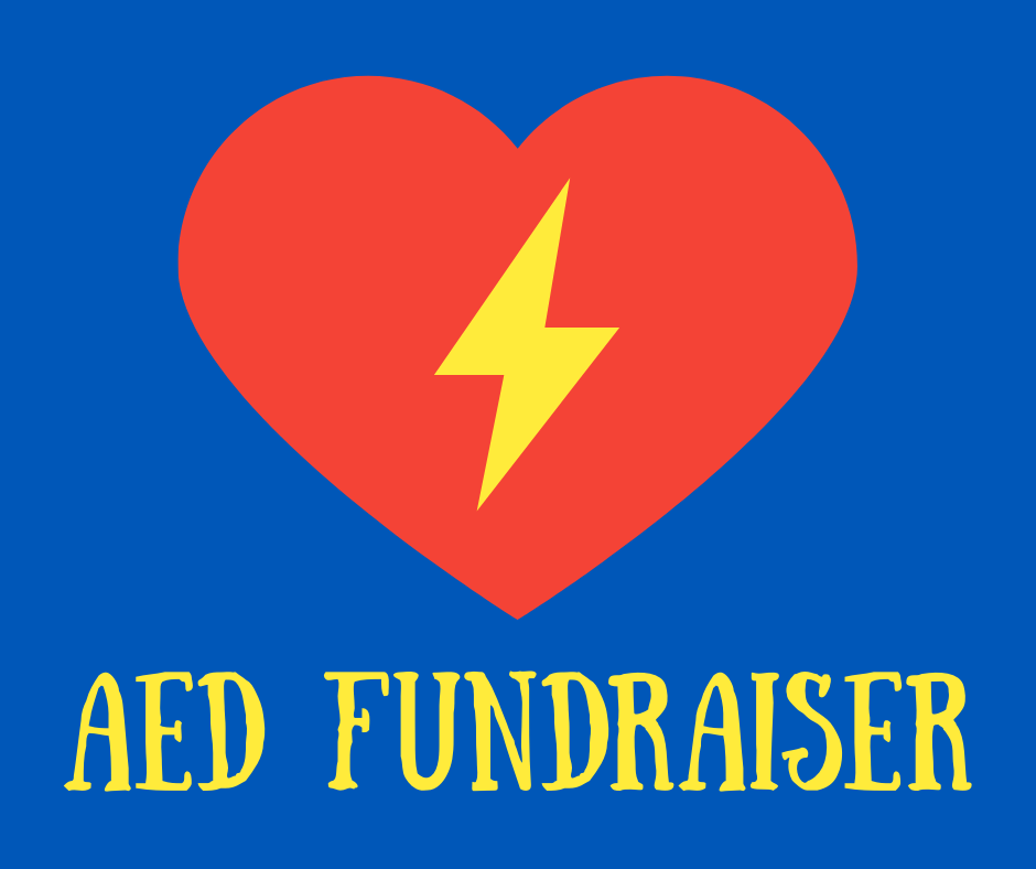 Blue background, red heart with yellow lightning bolt