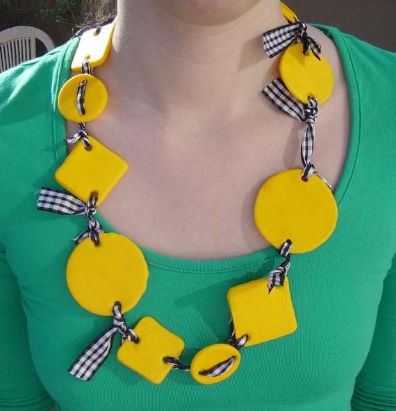 Yellow & ribbon necklace