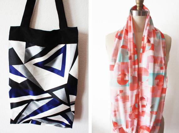 satin tote cubism scarf