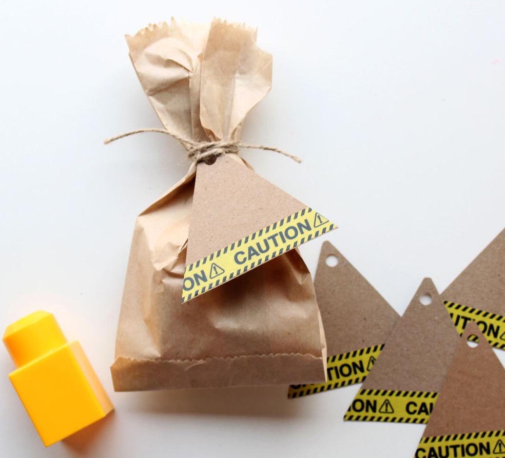 Construction party favour bags
