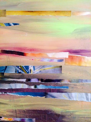 """39"""" x 51"""", magazine clippings and latex paint on canvas, 2014"""
