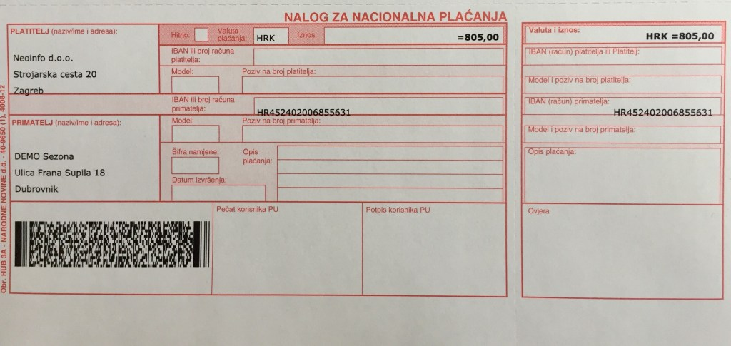 Adeo POS Fiskalna blagajna HUB3 uplatnice