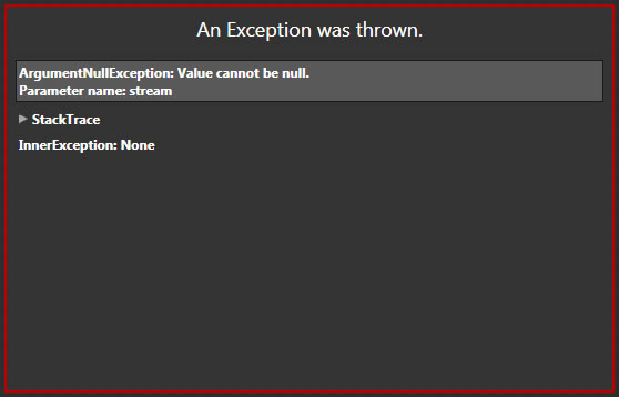 Argument null exception. Value cannot be null.