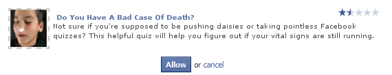 Do you have a bad case of death? - funny facebook quiz