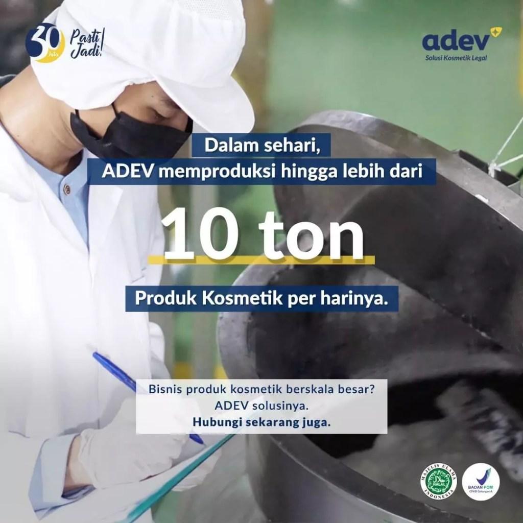 kapasitas produksi pabrik kosmetik Adev