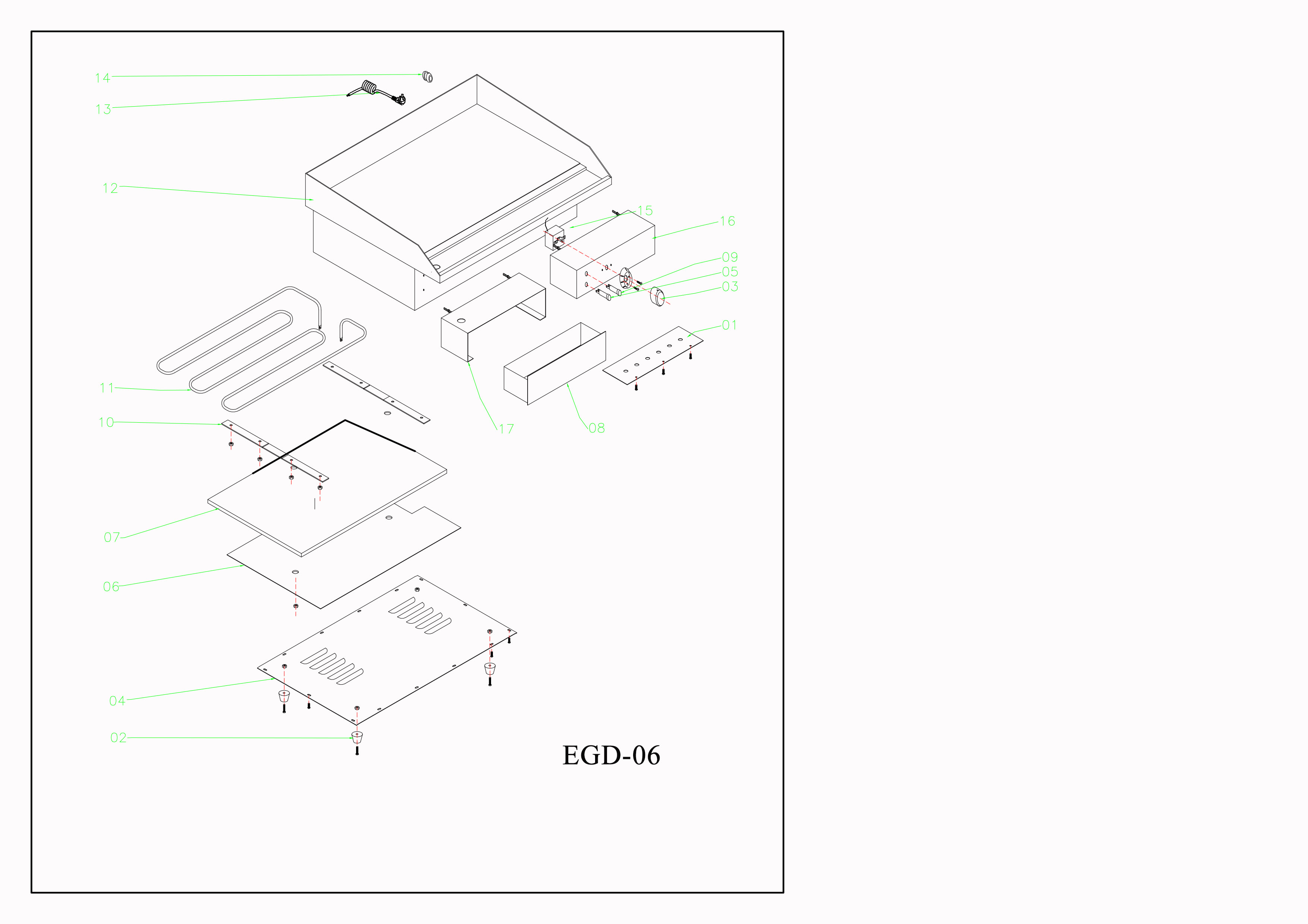 Professional Griddle Electric 520x400mm 3kW Smooth 1 zone