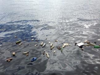 Polluted water ocean plastic bottles