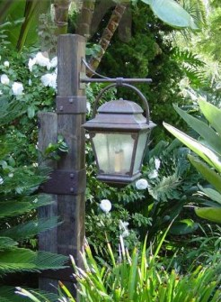 Custom Sold Brass Lantern Mounted To Wooden POle By G Olesker Portfolio ADG Lighting