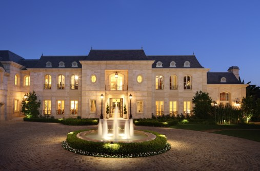 European Formal Estate With Post Lights At Entry ADG Lighting
