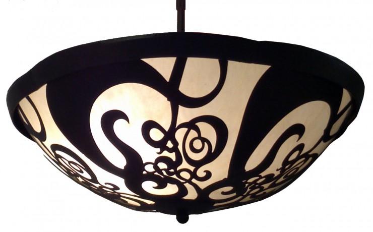 7262 LED Br H Sh Filigree Bowl Hanging Pendant Water Jet Cut Light Fixture  – ADG Lighting