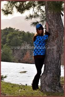 Mavi & Kahverengi Kazak (Blue & Brown Sweater, Beret)