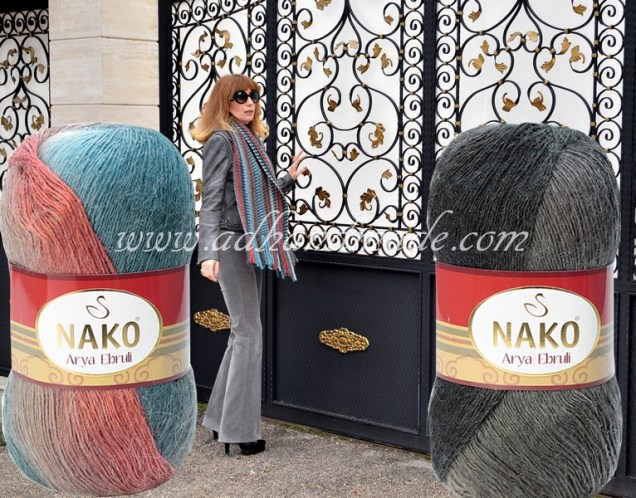 Knitted Cord Colour: Nako Arya Ebruli 86408, Graund Colour: Nako Arya Ebruli 86398