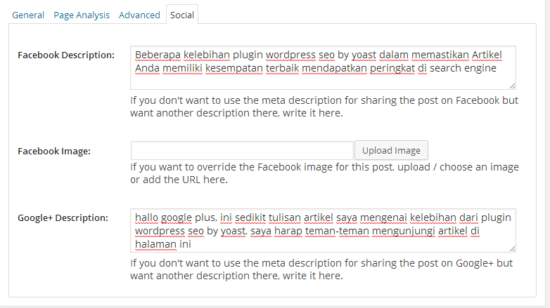 setting fitur social di wordpress seo by yoast