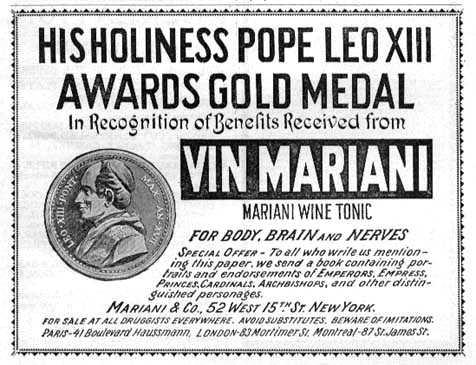 Påven lovordar den alkoholhaltiga kokaindrycken