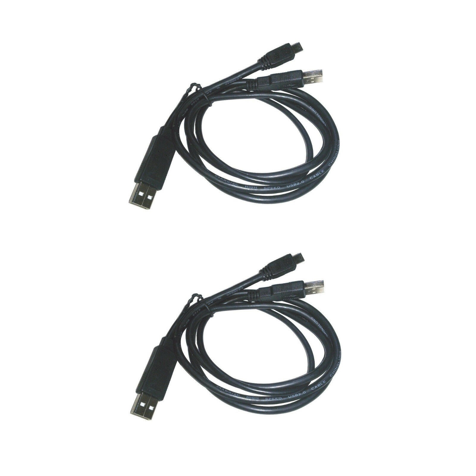 USB 2.0 High Speed Dual Type A Male to Mini-B 5-pin Male Y Adapter Cable