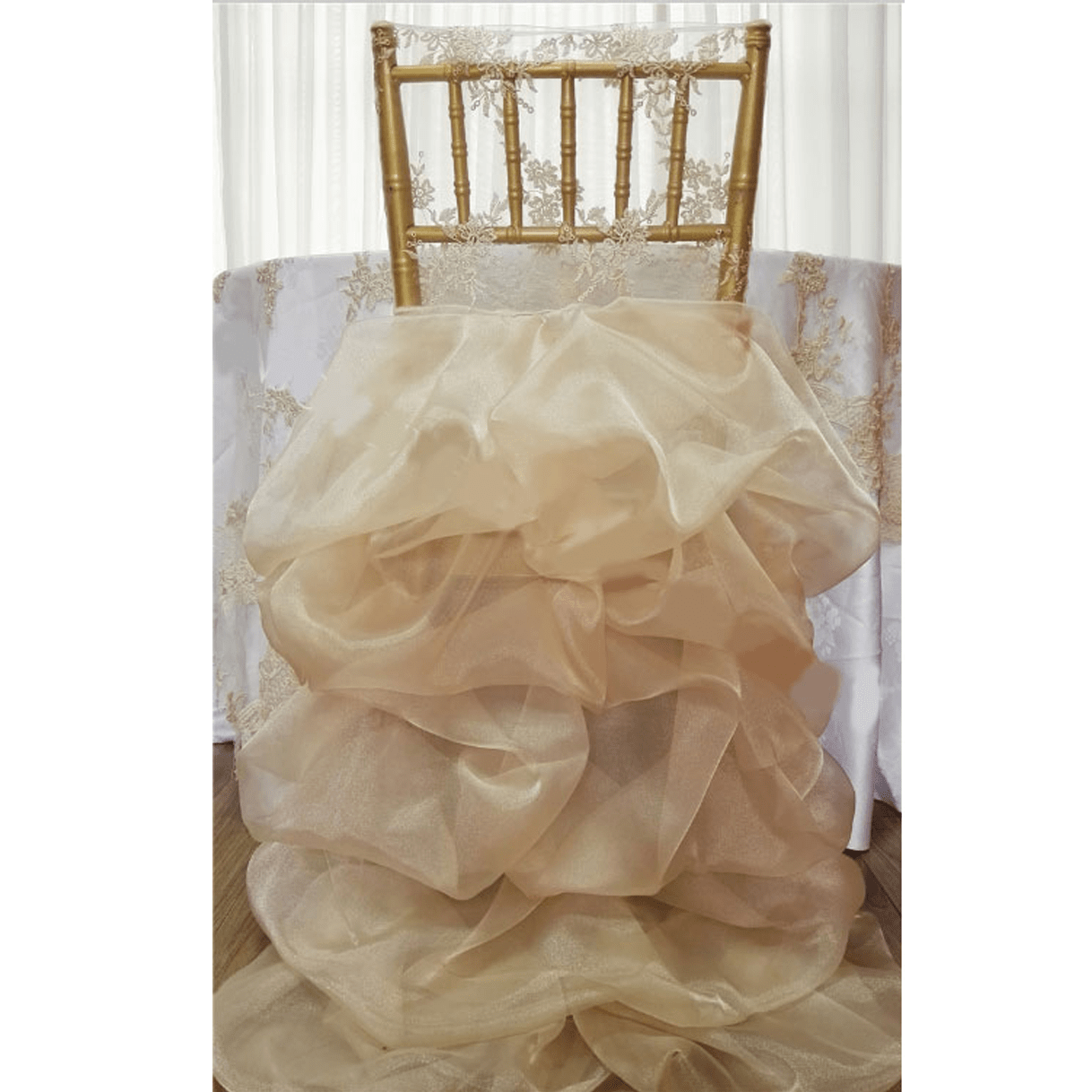 Champagne Chair Covers Fancy Ruffled Organza Chiavari Chair Full Back Cover Champagne
