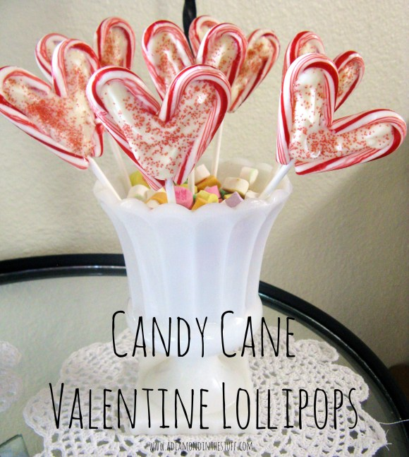 Candy Cane Valentine Lollipops | A Diamond in the Stuff