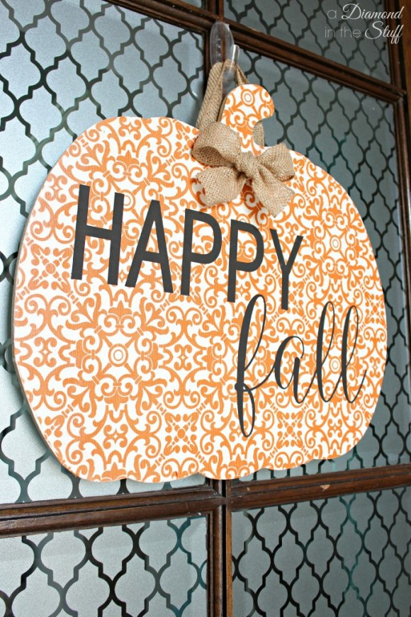Decoupaged Pumpkin Door Hanger | A Diamond in the Stuff