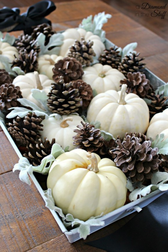 Pumpkins and Pinecones Centerpiece | A Diamond in the Stuff
