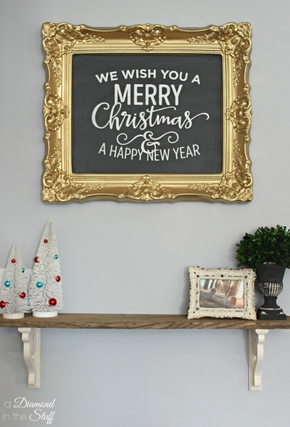 DIY Faux Christmas Chalkboard | A Diamond in the Stuff