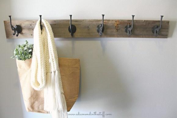 DIY Barnwood Coat Rack | A Diamond in the Stuff