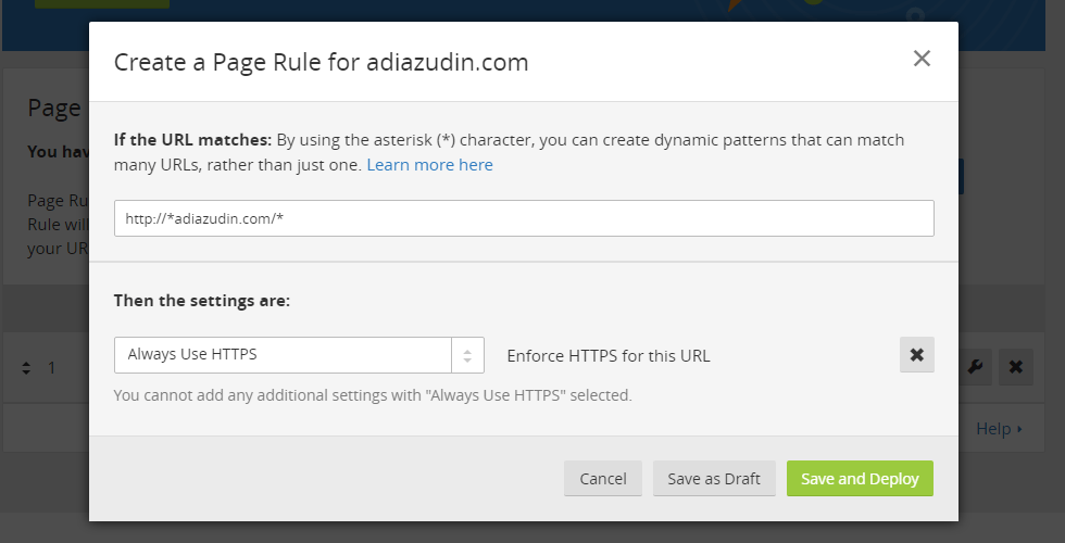 Cloudflare SSL - Create Page Rules
