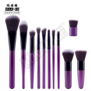 MAANGE 11pcs/set Makeup Brush Sets Blush Foundation Powder Brush Cosmetic Beauty Tool Purple Color
