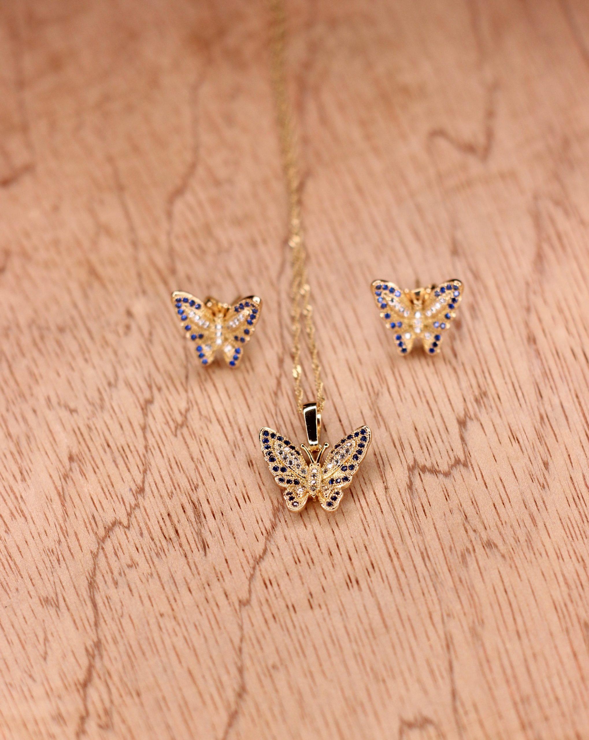 butterfly zircon stone necklace
