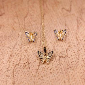 butterfly zircon stone necklace