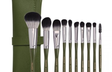 Maange 10pcs Green Makeup Brush With Bag