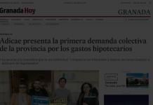 El diario Granada Hoy informa sobre demandas colectivas de ADICAE Granada sobre gastos hipotecarios