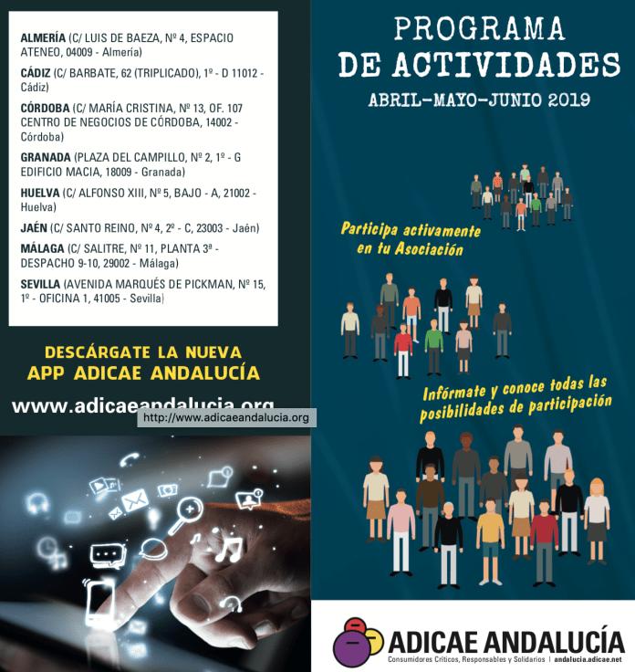 Programa de Actividades de ADICAE Andalucía para esta primavera