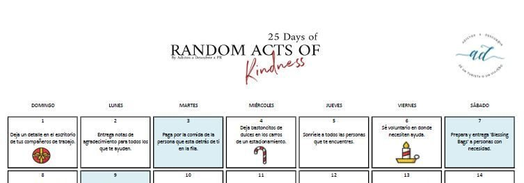 25 Days of Random Acts of Kindness Calendar 2019
