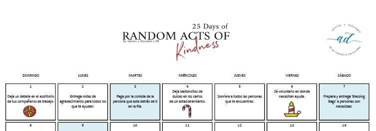 25 Days of Random Acts of Kindness Calendar 2019