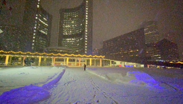 Nathan Phillips Square Toronto buried under snow.