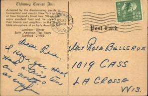 Postcard Back, 1949 Aug-15 Postmark