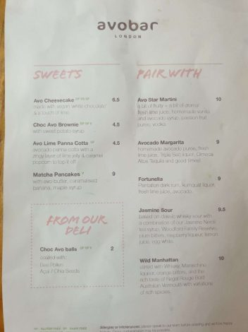 Dessert menu at Avobar London