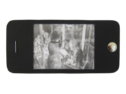 "iPhone 8, graphite on vellum with black paper, staple, and thumbtack, 2.25"" x 4.75"", 2014"