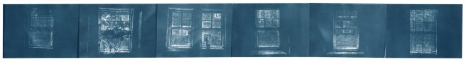 "Window plot, cyanotype contact prints of graphite drawings on vellum, 5"" x 41.5"", 2015"