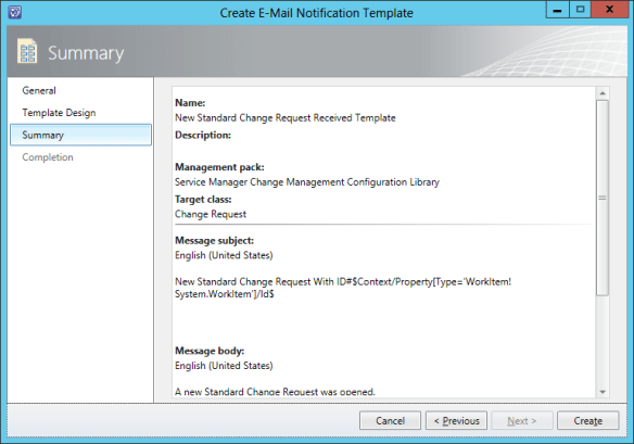 Create Notification Template - Change Request 09
