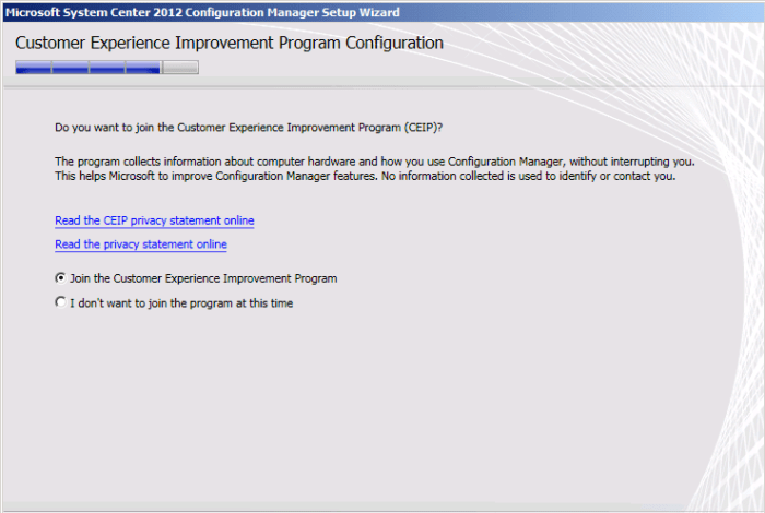 SCCM2012R2 - CEIP Program