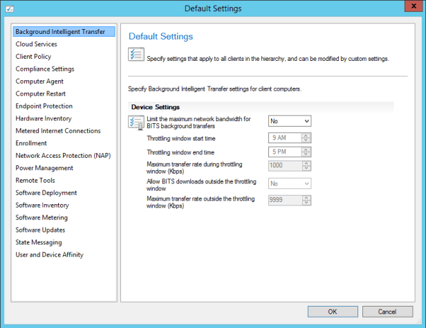 SCCM2012R2SP1 - Client Settings