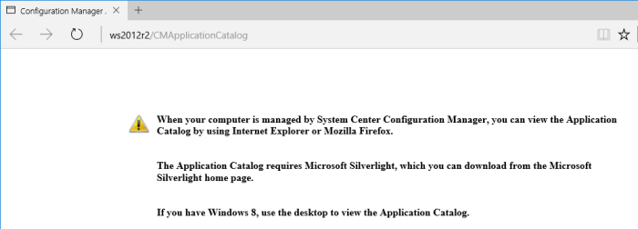 SCCM 2016 TP3 U1509 - Application Catalog - Edge Browser